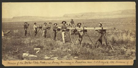 Members-of-the-United-States-Geological-Survey-measuring-a-baseline-near-Fort-Wingate,-N.M.,-1883