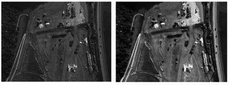 تصویر اصلی (تصویر سمت چپ) و تصویر بعد از تصحیح رادیومتریک (تصویر سمت راست), دوربین رقومی DMC, فتوگرامتری , کالیبراسیون رادیومتریک