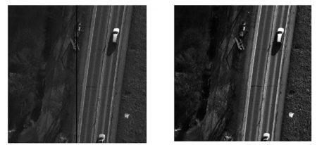 برشی از تصویر محتوای ستون های خراب (تصویر سمت چپ) تصویر تصحیح شده (تصویر سمت راست), دوربین رقومی DMC, فتوگرامتری, کالیبراسیون رادیومتریک