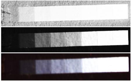 فتوگرامتری, دوربین رقومی UltracamD,مثالی از درجات خاکستری در تصاویر از بالا به پایین,RC20 pan 12 bit 20 μm ,UC hi-pan 16 bit,UC lo-cir 16 bit