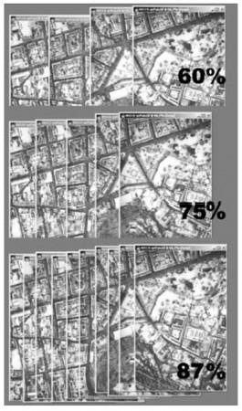 نمونه ای از خطوط پرواز با پوشش روبه جلو 60%، 75%، 87%, فتوگرامتری, دوربین UltracamD