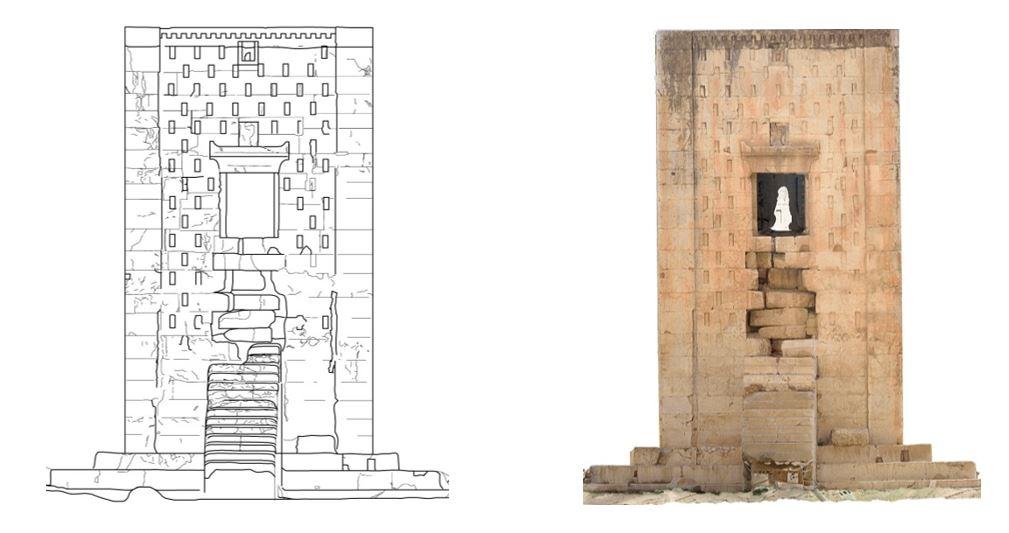 تصویر قائم نمای غربی بنای کعبه زرتشت و ترسیمات صورت گرفته بر روی آن