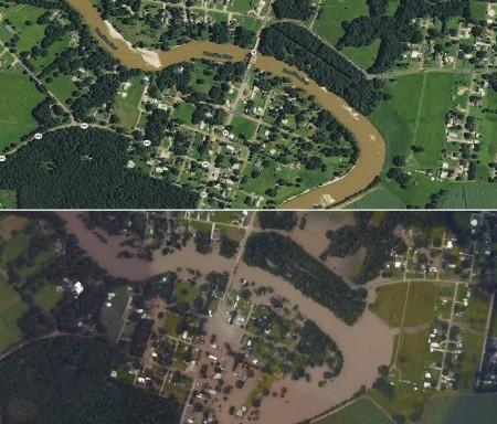 تصویر هوایی قبل و بعد از سیل | ابیویل (Abbevile) | لوئیزیانا