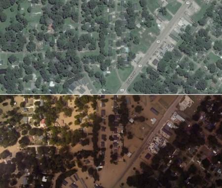 تصویر هوایی قبل و بعد از سیل | دنم اسپرینگز (Denham Springs) | لوئیزیانا