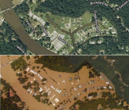 تصویر هوایی قبل و بعد از سیل |پورت وینسنت (Port Vincent) | لوئیزیانا